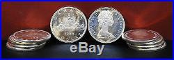 10 Vintage 1966 Uncirculated 80% Silver Royal Canadian Silver Dollars