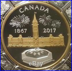 1867-2017 Centennial Flame Parliament $50 Silver Proof Canada Coin Puzzle Piece