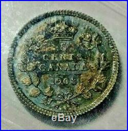 1908 Canada Silver 5 Cent Coin Lg. 8 ICCS SP-64