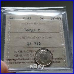 1908 SPECIMEN Canada Silver 5 Cents Coin ICCS SP-65 Large 8 2 Letter Flip