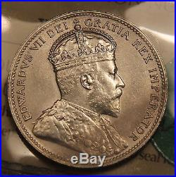 1909 Canada Silver 25 Cents ICCS MS-60 Uncirculated King Edward VII Quarter