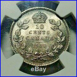 1913 Canada Silver 10 Cents SL NGC MS-65 RARE