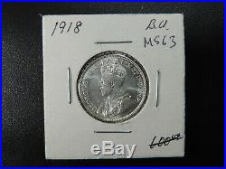1918 25 Cent Coin Canada Twenty Five Cents King George V. 925 Silver MS63+ Grade