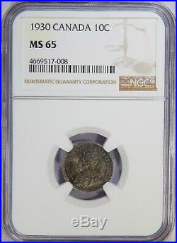 1930 Canada Silver 10 Cents NGC MS-65 10c