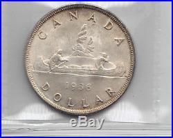 1936 $1 Canada Canadian Silver Dollar MS 65