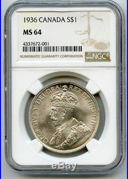 1936 Canada $1 Silver Dollar NGC MS 64 White