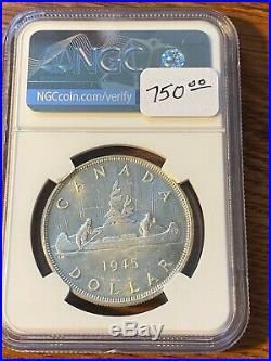 1945 Canada Silver Dollar Ngc Ms62+