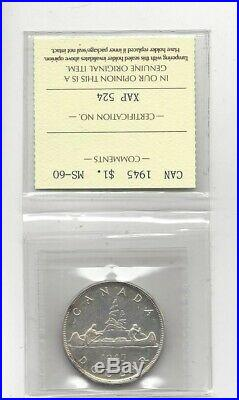 1945, ICCS Graded Canadian Silver Dollar MS-60