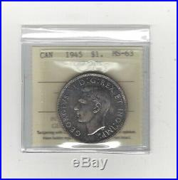 1945, ICCS Graded Canadian Silver Dollar MS-63