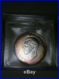 1946 Canada Silver Dollar Iccs Ms62 Toned