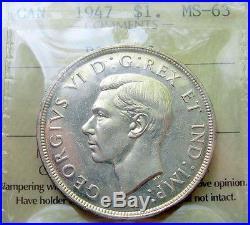 1947 BLUNT 7 Silver Dollar Certified MS BU RARE Date KEY George VI Canada $1.00