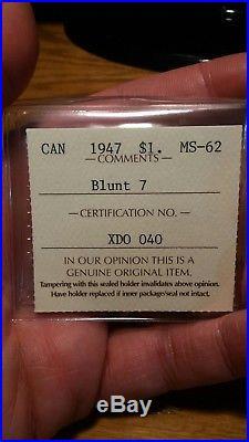 1947 Blunt 7 (b7) Canada Silver Dollar Iccs Ms-62. Nice White Piece. No Tax