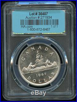 1947 Canada Blunt 7 Silver Dollar PCGS MS64