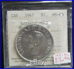 1947 Maple Leaf Canada Silver Dollar Double HP Rotated Dies ICCS BU RC941