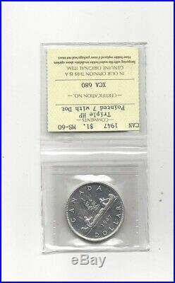 1947 Ptd 7 / DOT, 3XHP ICCS Graded Canadian Silver Dollar MS-60