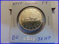 1947 canada silver dollar pointed 7,3xhp bu