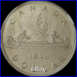 1948 Canada Silver Dollar Beautiful Sharp Strike Bright White Gem Coin