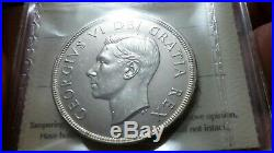 1948 Canada Silver Dollar Iccs Certified Ms-62. Rare Key Date. No T A X