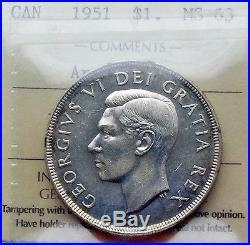 1951 ARNPRIOR Silver Dollar Certified Choice MS BU RARE Variety KEY Canada $1.00