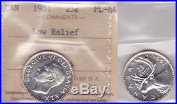 1951 ICCS PL64 25 cents LOW RELIEF (LR) Canada twenty-five quarter silver SCARCE