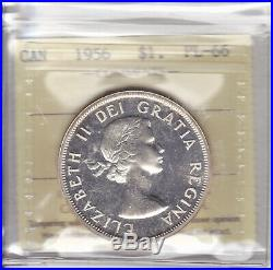 1956 ICCS PL66 $1 CAMEO Canada one dollar silver Mintage just 6,500