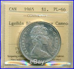 1965 Silver Dollar Canada Large Bds Blunt 5 ICCS Certified Heavy Cameo PL-66