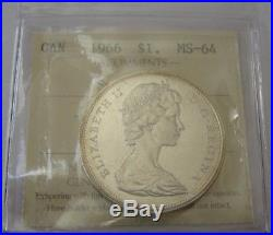 1966 Canada Silver Dollar Small Beads MS64 Extremely Rare Gem Coin