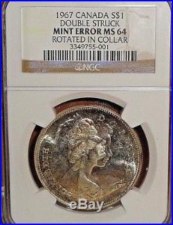 1967 Canada Double Struck Goose Silver Dollar Mint Error NGC MS64 GEM