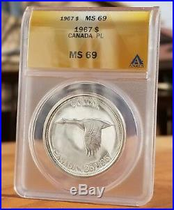 1967 Canada Silver One Dollar Proof Like Ms69 Cameo Goose