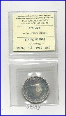 1967 Double Struck, ICCS Graded Canadian Silver Dollar MS-64