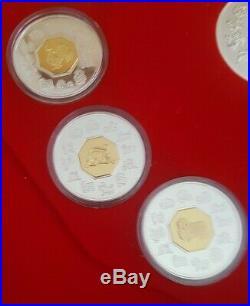 1998 -2009 Canada Silver With GOLD GILT center Lunar Coin Set, No COA