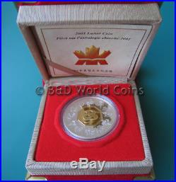 2001 CANADA $15 1oz SILVER PROOF GOLD PLATED SNAKE BOX+COA CANADIAN LUNAR CROWN