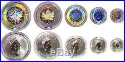 2003 Canada 5-Coin Silver Maple Leaf Hologram Set With Box & COA