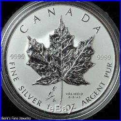 2005 Reverse Proof Canada. 999 Silver Maple Leaf Dutch Tulip Privy Orig Box COA