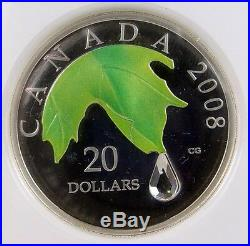 2008 Canada $20.00 Crystal Raindrop 1 OZ. Silver NGC Certified PF-69 Ultra Cameo
