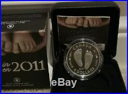 2011 Baby Gift Welcome to the World Pure Silver $4 1/2OZ Coin Canada Baby Feet