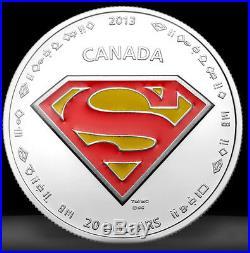 2013 Superman S-Shield, 1oz $20 Fine Silver Coin-CANADA-75th Anniversary
