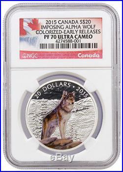 2015 1 Oz Canada $20 Proof Silver Imposing Alpha Wolf NGC PF70 UC ER SKU36727
