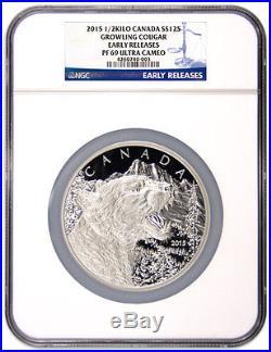 2015 Canada $125 1/2 Kilo Silver Coin Growling Cougar NGC PF69 UC ER SKU35296