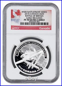 2015 Canada 1 Oz Proof Silver $20 Battle of Britain NGC PF70 UC ER SKU35560