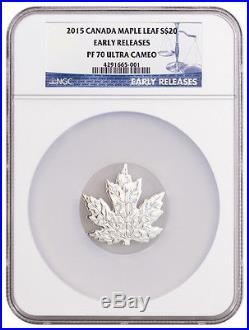 2015 Canada $20 1 Oz Proof Silver Maple Leaf Shape NGC PF70 UC ER SKU36884