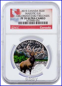 2015 Canada $20 Colorized Proof Silver Majestic Elk NGC PF70 UC ER SKU36375