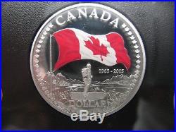2015 Premium Proof Set 50th Ann Flag. 9999 Silver Canada with coloured dollar