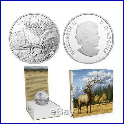 2016 $100 CANADA Elk, FINE. 9999 SILVER COIN (OGP/COA)