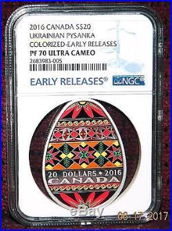 2016 CANADA $20 UKRAINIAN PYSANKA EGG SHAPED SILVER COIN WithBOX NGC PF70 UC ER
