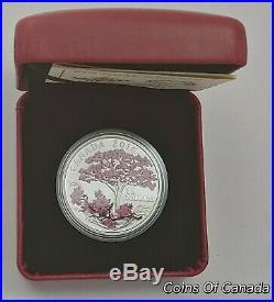 2016 Canada $15 Cherry Blossoms Pink Colorized Fine Silver Coin #coinsofcanada