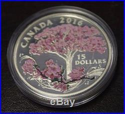2016 Canada $15 Fine Silver coin Cherry Blossoms