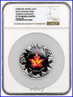 2016 Canada $50 5 Oz Silver Murano Maple Leaf Autm Radiance NGC PF70 UC SKU41513