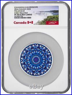 2016 Canada Silver $20 Kaleidoscope Polar Bear PF70 UC ER NGC Coin
