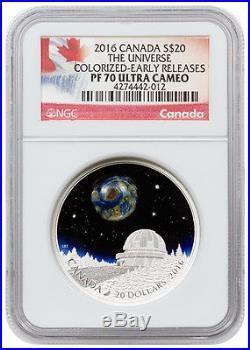 2016 Canada Silver $20 The Universe Borosilicate Art PF70 UC ER NGC Coin